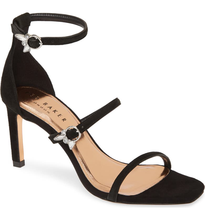 TED BAKER LONDON Lanoraa Ankle Strap Sandal, Main, color, BLACK SUEDE