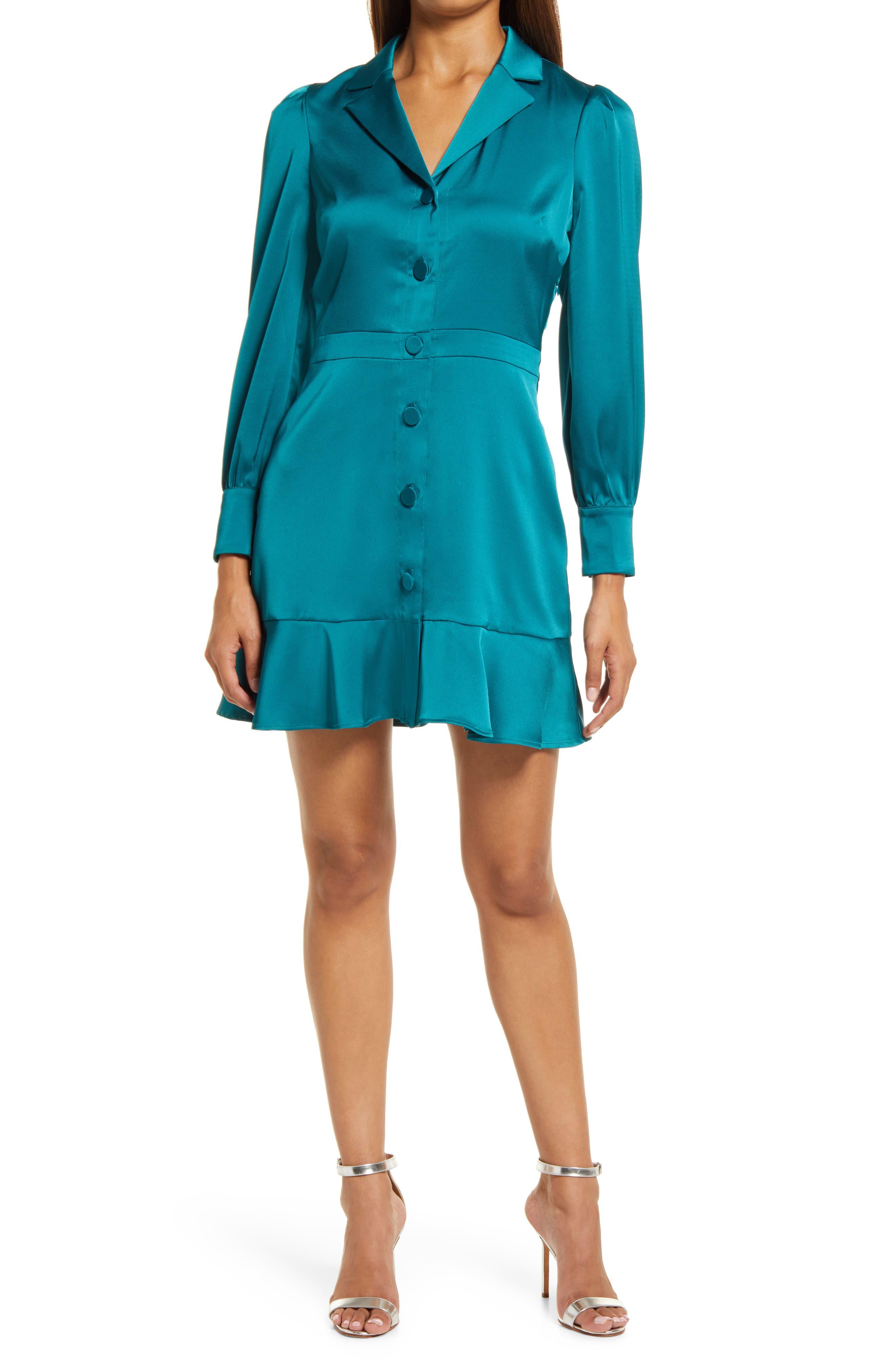 Patricia Long Sleeve Sateen Fit & Flare Minidress