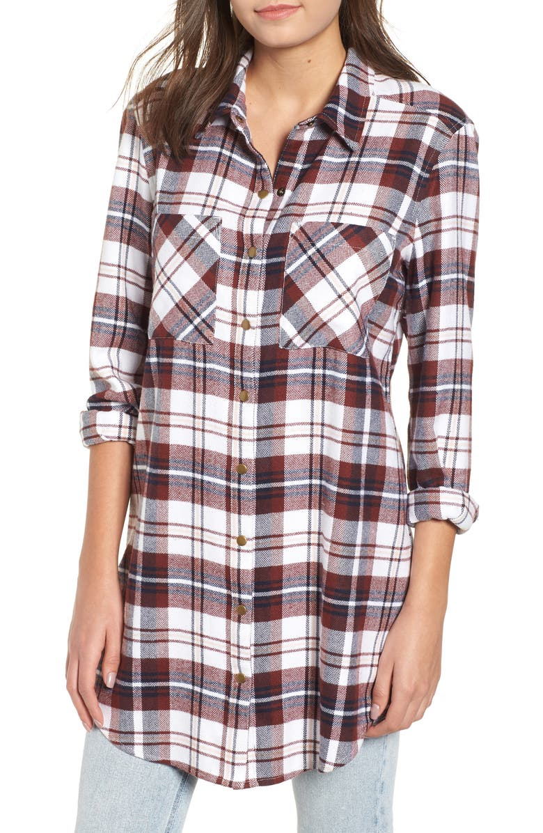 BP. Plaid Flannel Tunic, Main, color, 900