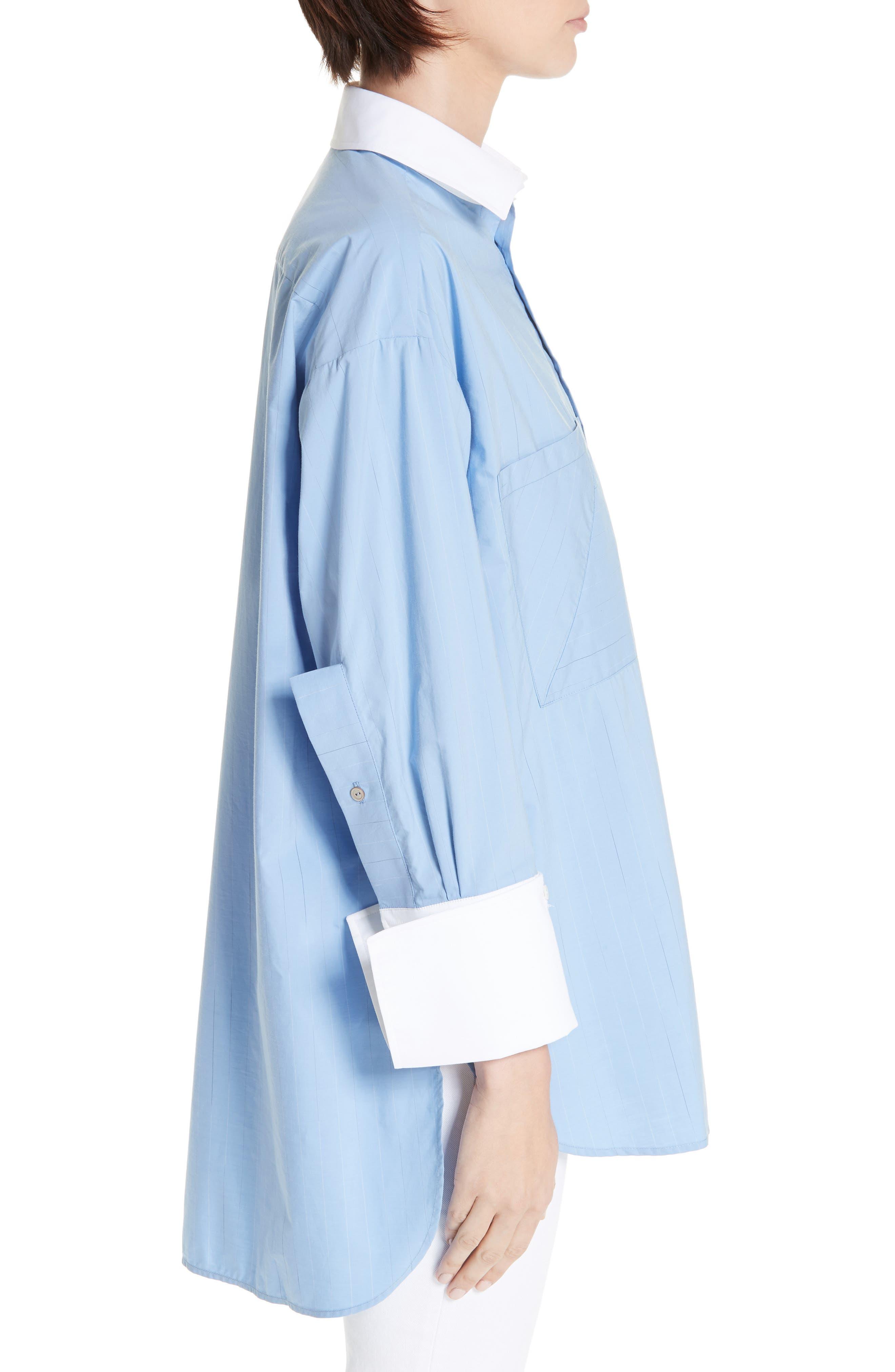 ,                             Oversize Boyfriend Shirt,                             Alternate thumbnail 3, color,                             BLUE RAIN STRIPE WITH WHITE