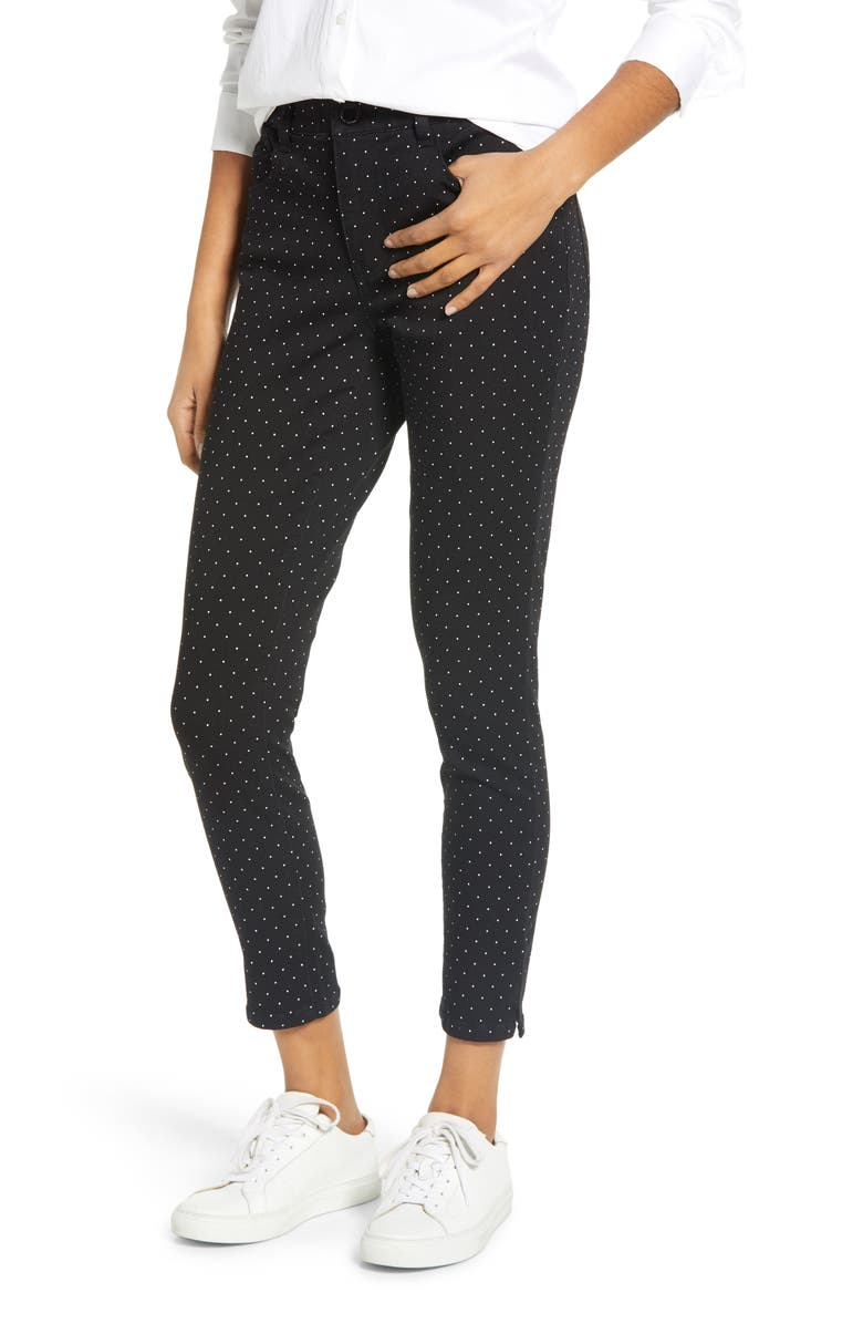 WIT & WISDOM Ab-Solution High Waist Polka Dot Ankle Skinny Pants, Main, color, 001