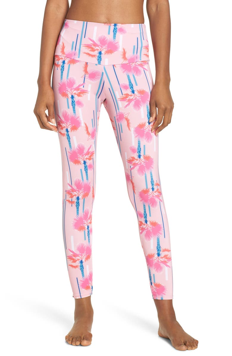 ONZIE High Rise Midi Leggings, Main, color, LAS PALMAS