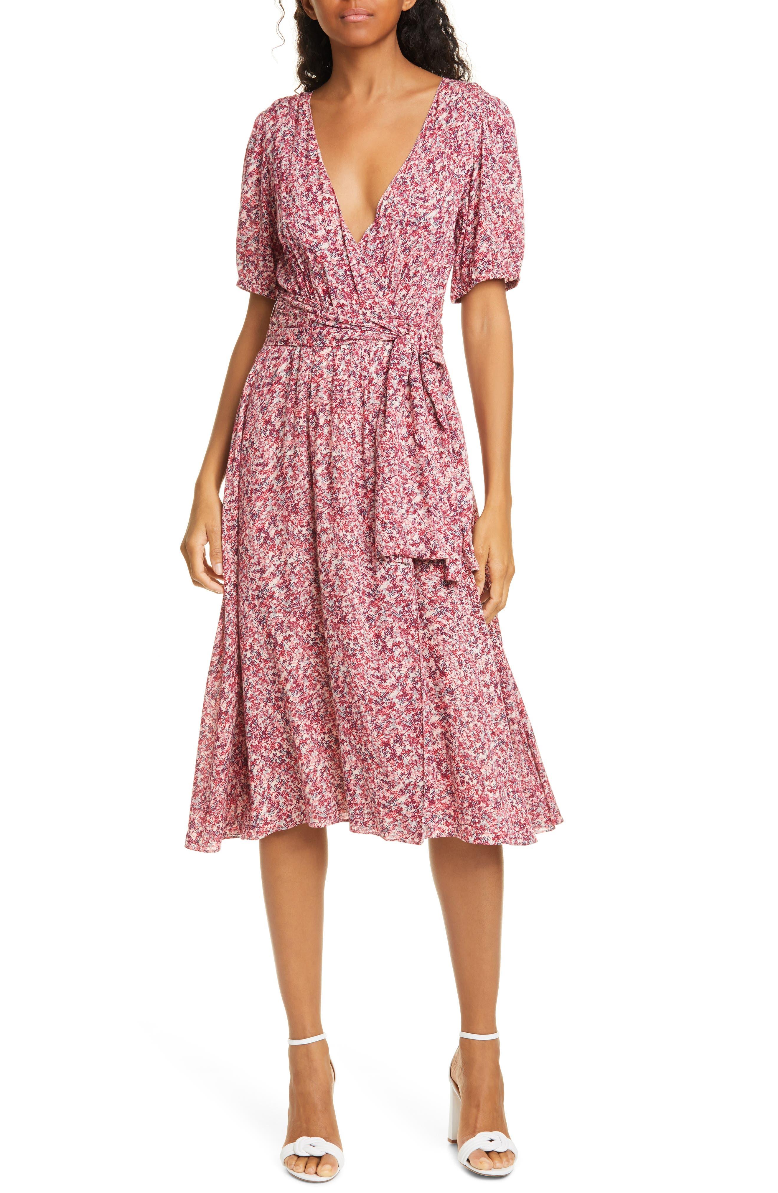 Image of ba&sh Noemie Floral Short Sleeve Wrap Midi Dress