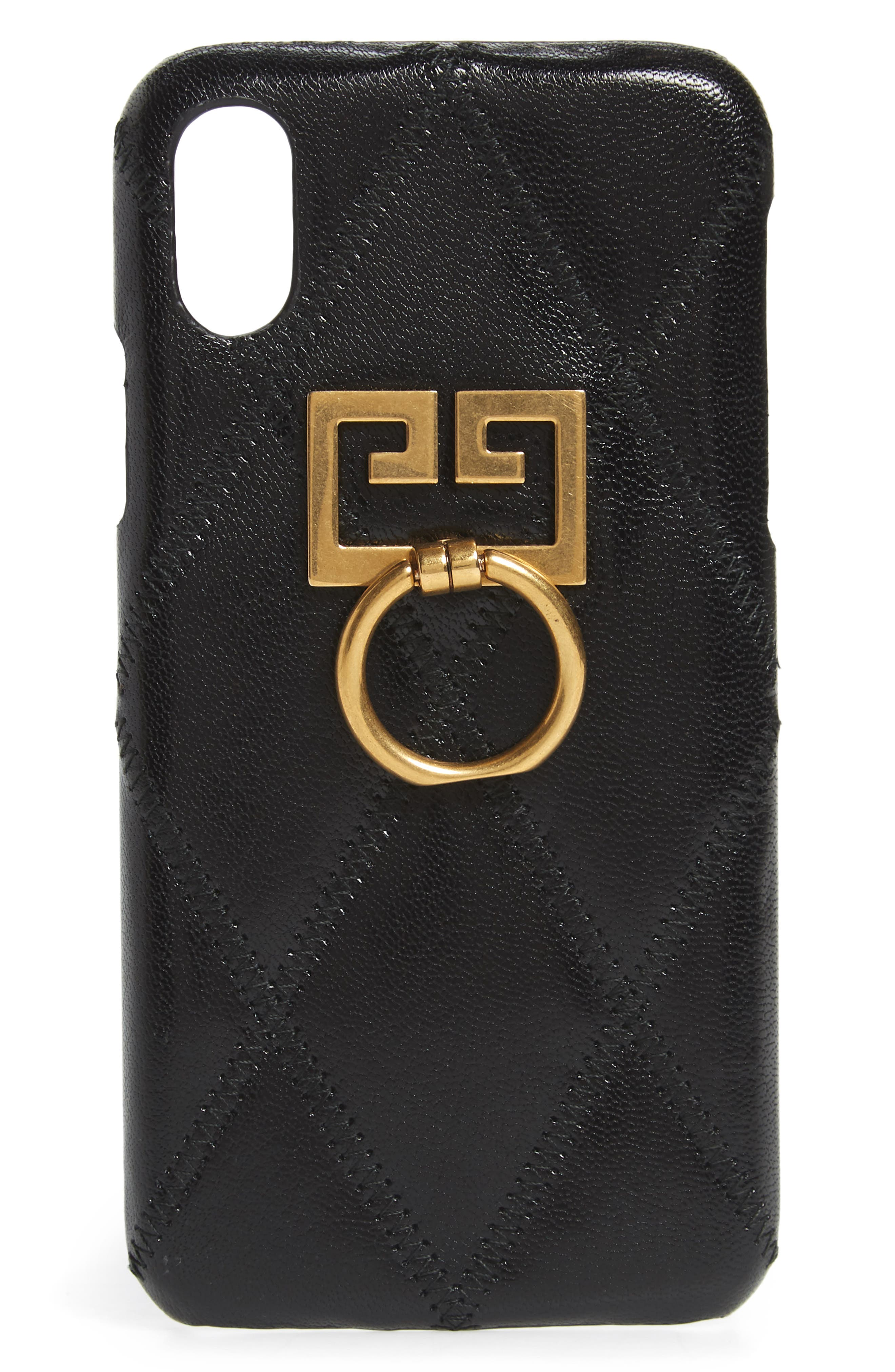 ,                             Leather iPhone 7/8 Case,                             Main thumbnail 1, color,                             BLACK