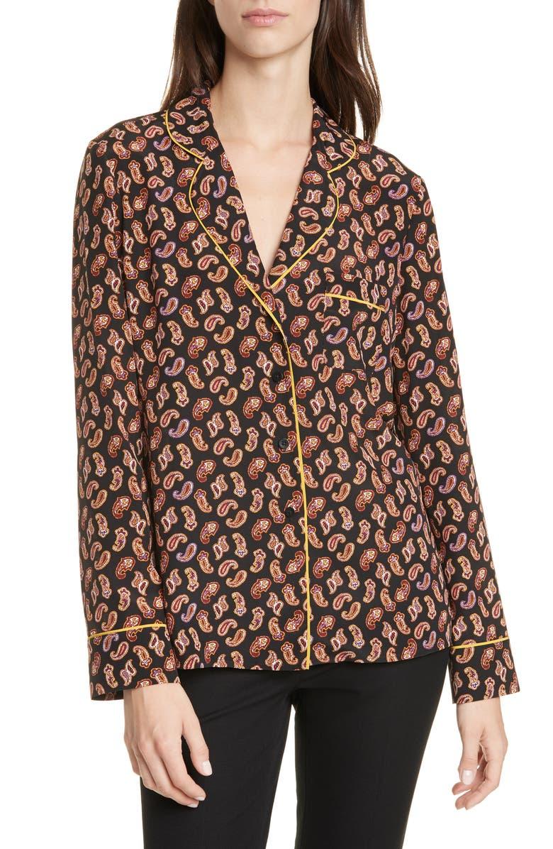 DVF Halsey Paisley Silk Blouse, Main, color, TIE PAISLEY BLACK MULTI