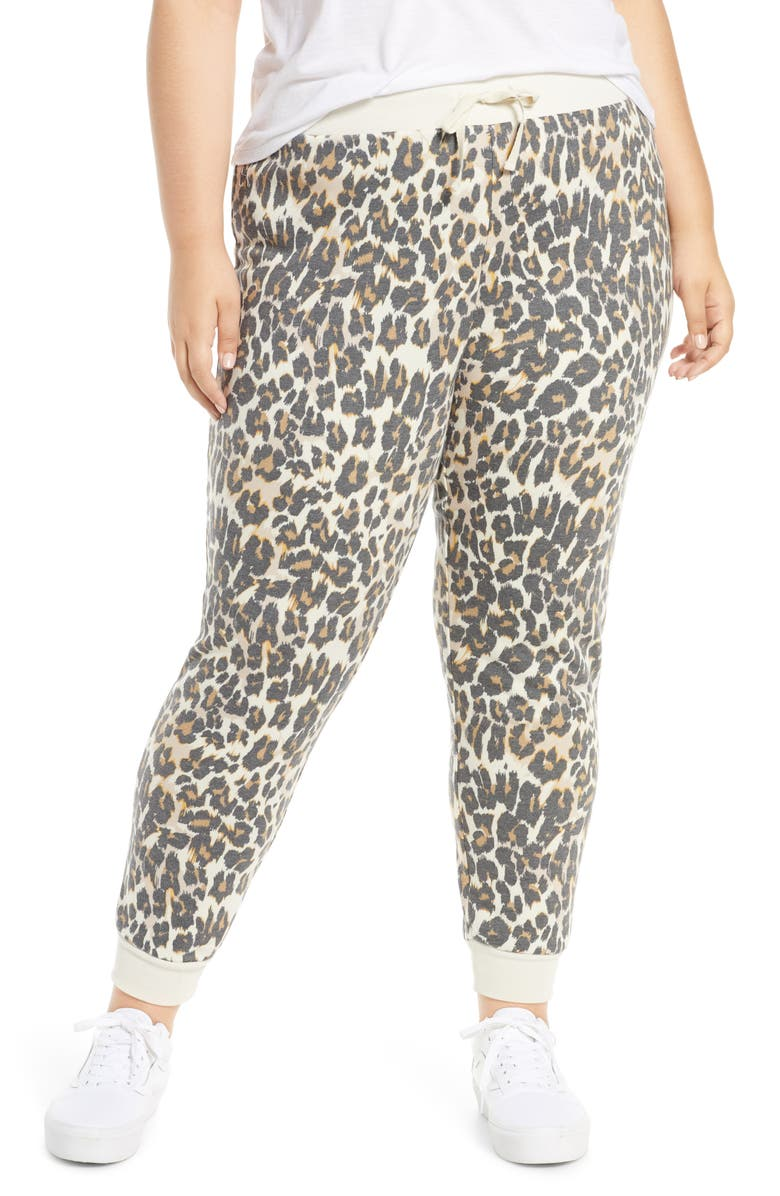 BP. Print Jogger Pants, Main, color, BEIGE BIRCH LEOPARD DASH