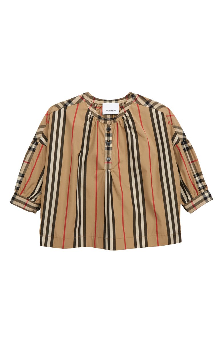 BURBERRY Lola Icon Check Top, Main, color, ARCHIVE BEIGE