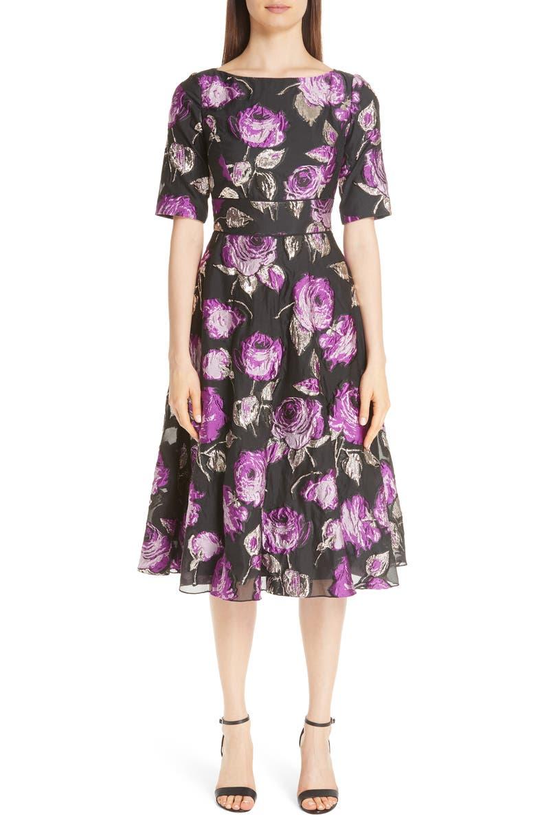 LELA ROSE Metallic Floral Fil Coupé Fit & Flare Dress, Main, color, 500