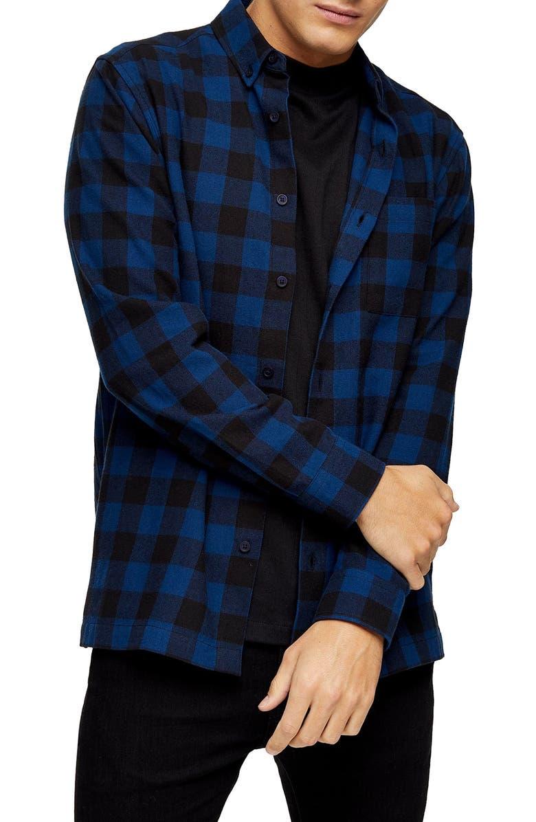 TOPMAN Buffalo Check Button-Down Flannel Shirt, Main, color, 001