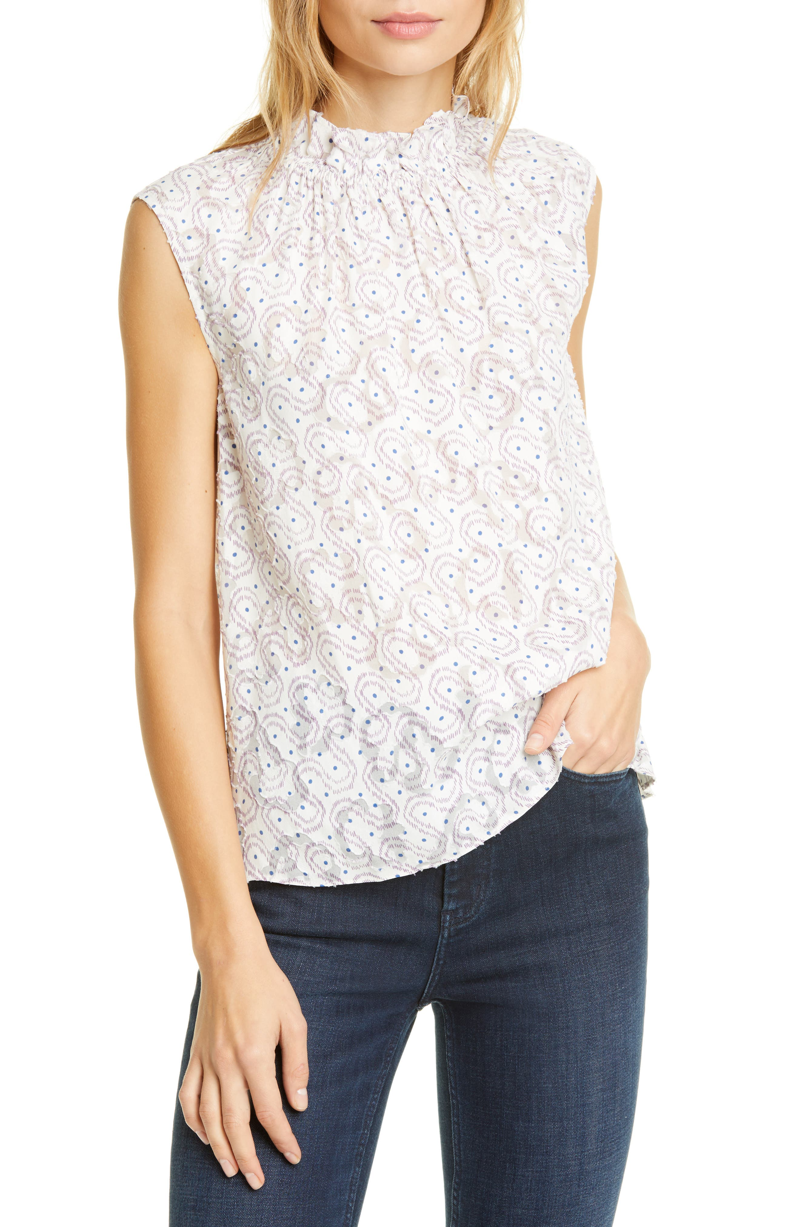 Image of Rebecca Taylor Sleeveless Swirl Dot Top