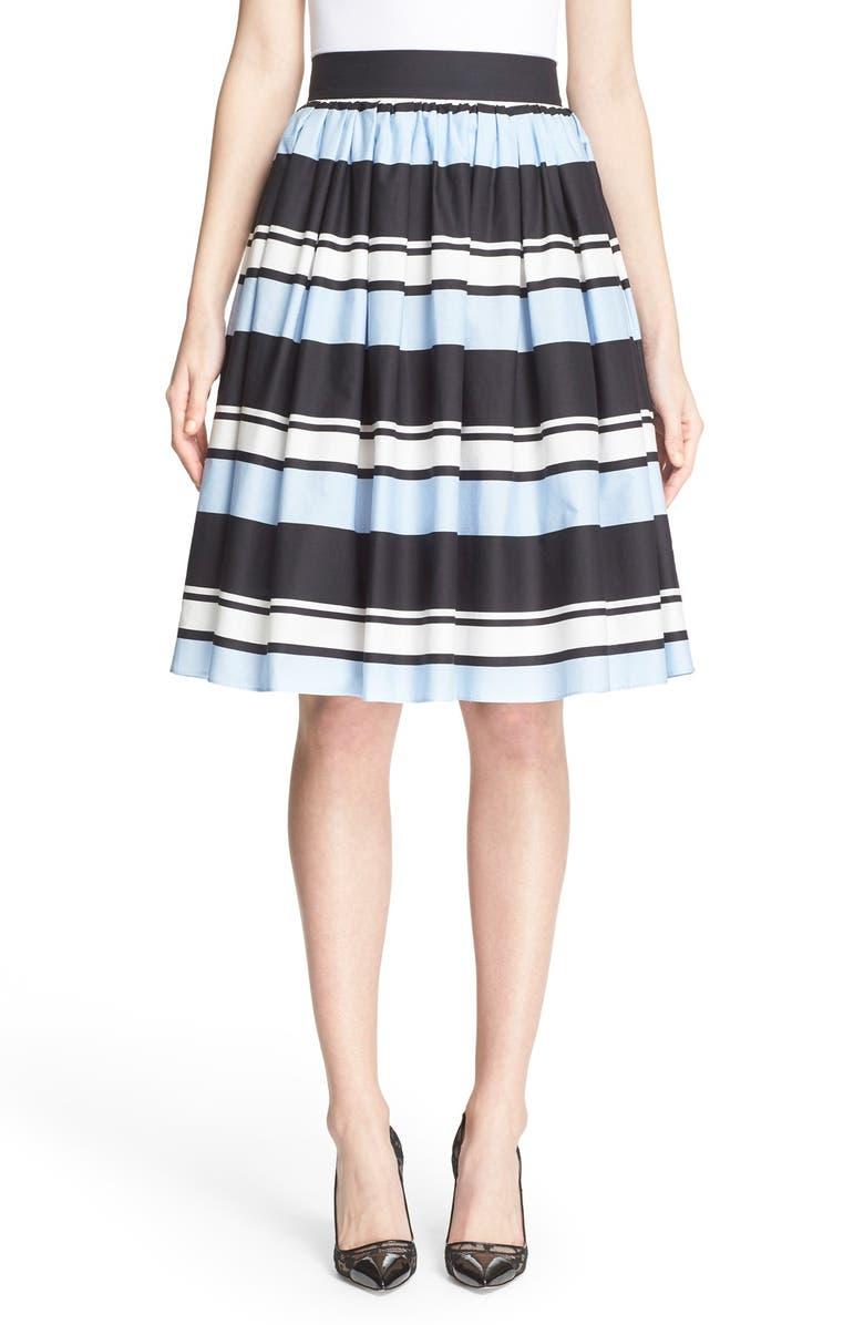 DOLCE&GABBANA Stripe Cotton Poplin Skirt, Main, color, 401