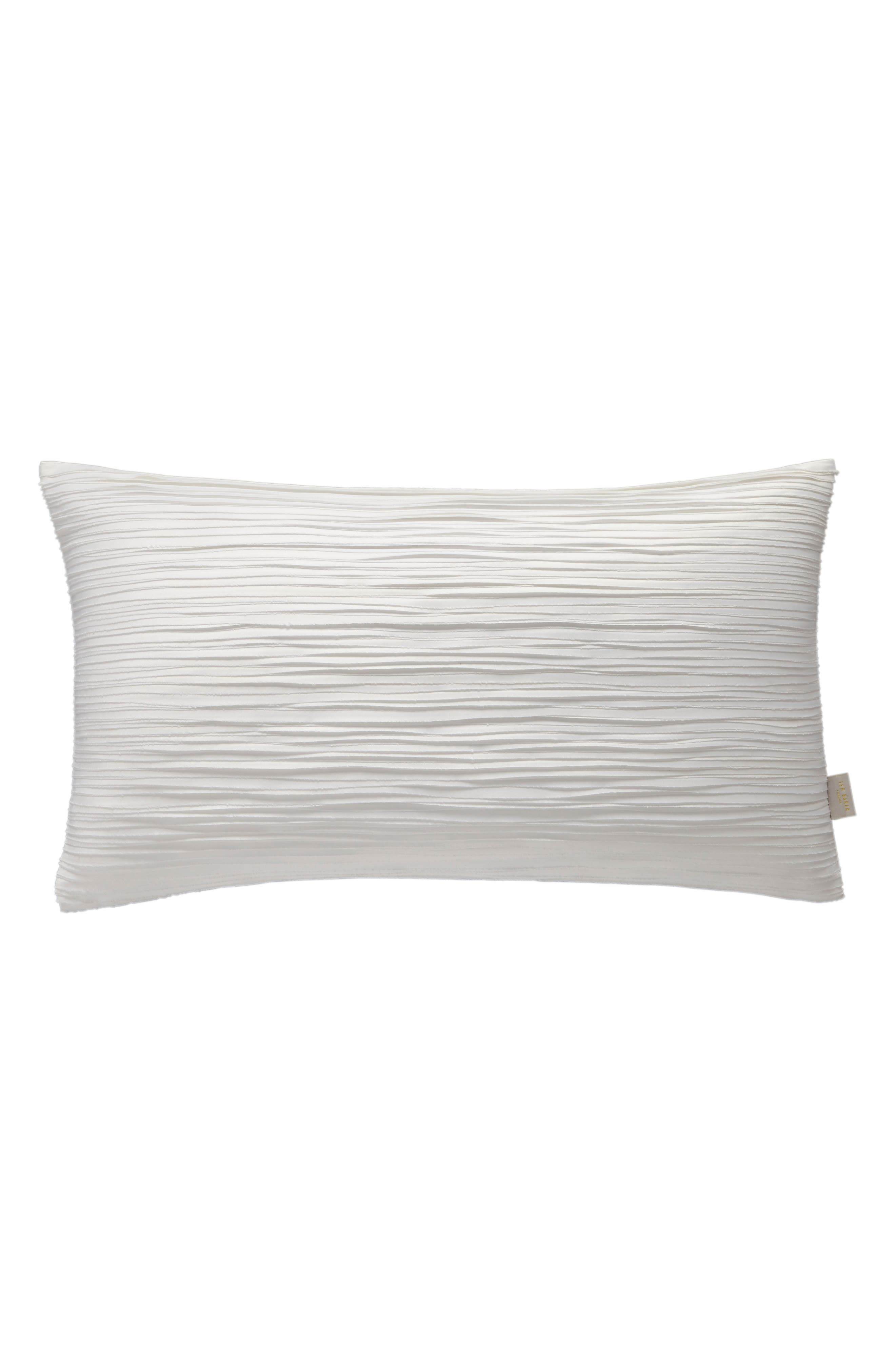 ,                             Ruched Accent Pillow,                             Main thumbnail 1, color,                             WHITE