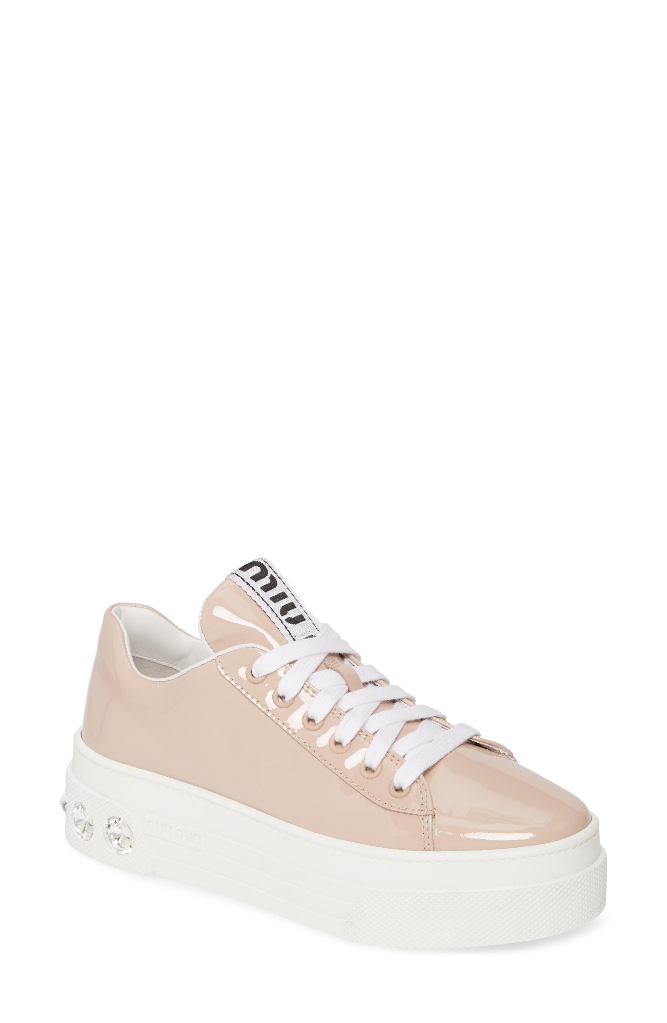 Miu Miu Crystal Detail Skate Sneaker, Beige