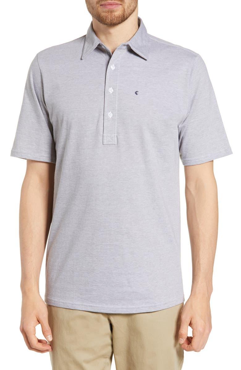 CRIQUET Range Regular Fit Jersey Polo, Main, color, GREY/ WHITE STRIPE
