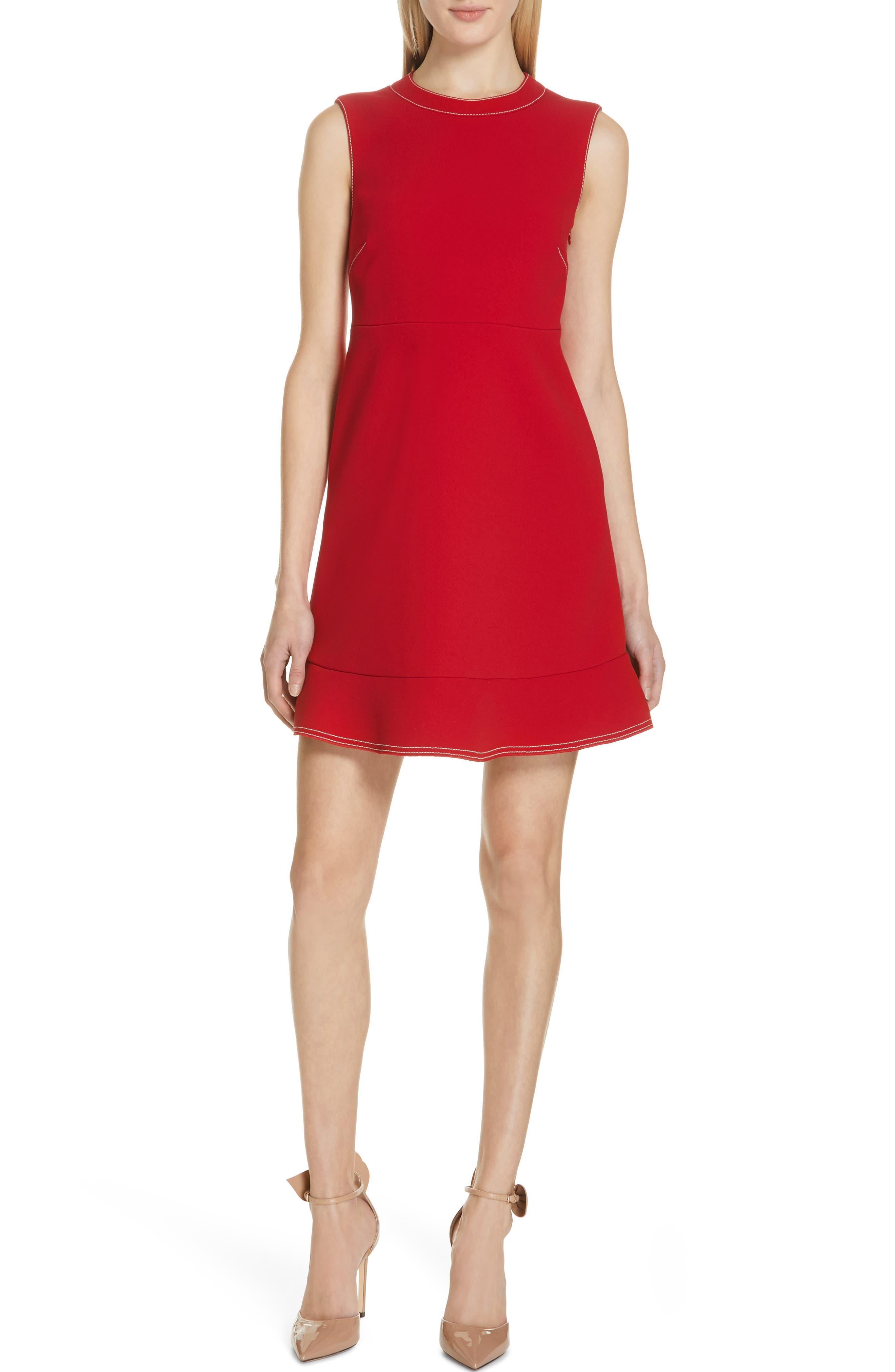 Red Valentino Contrast Stitch Ruffle Hem Minidress, US / 44 IT - Red