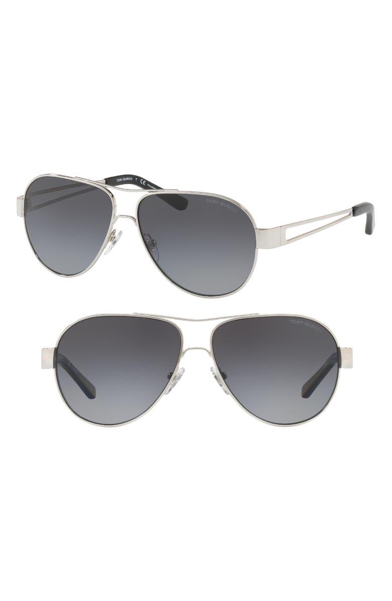 TORY BURCH 55mm Polarized Aviator Sunglasses, Main, color, 042