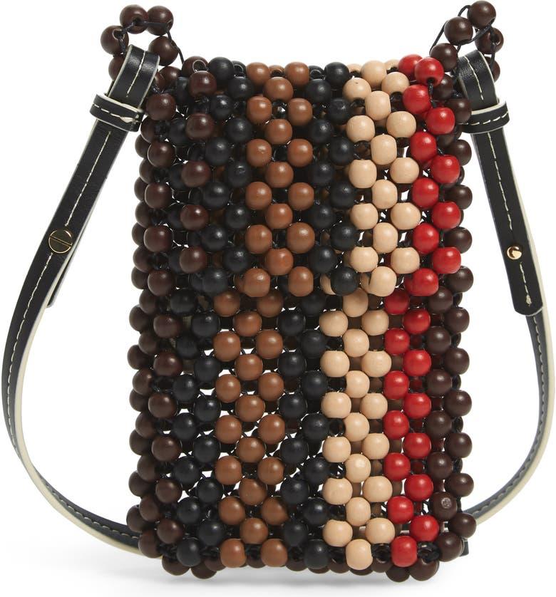 ULLA JOHNSON Dumi Beaded Crossbody Bag, Main, color, MOCHA