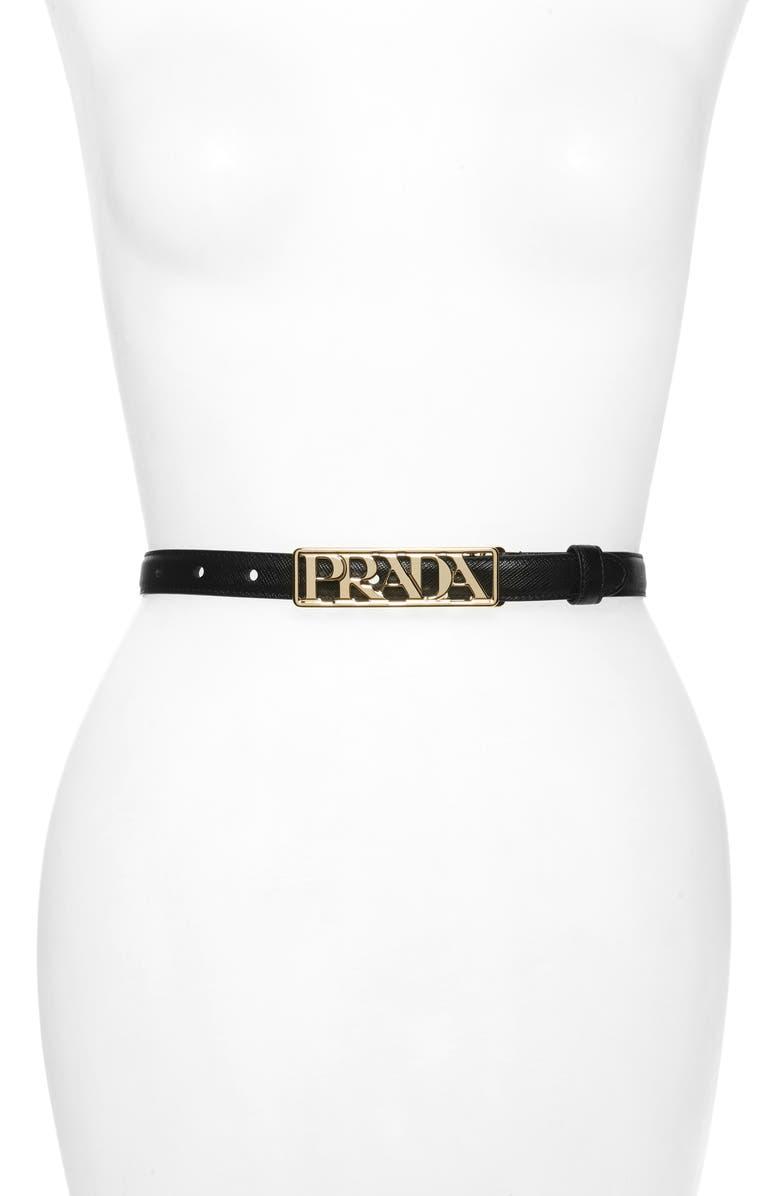 PRADA Logo Letter Saffiano Leather Belt, Main, color, NERO/ GOLD