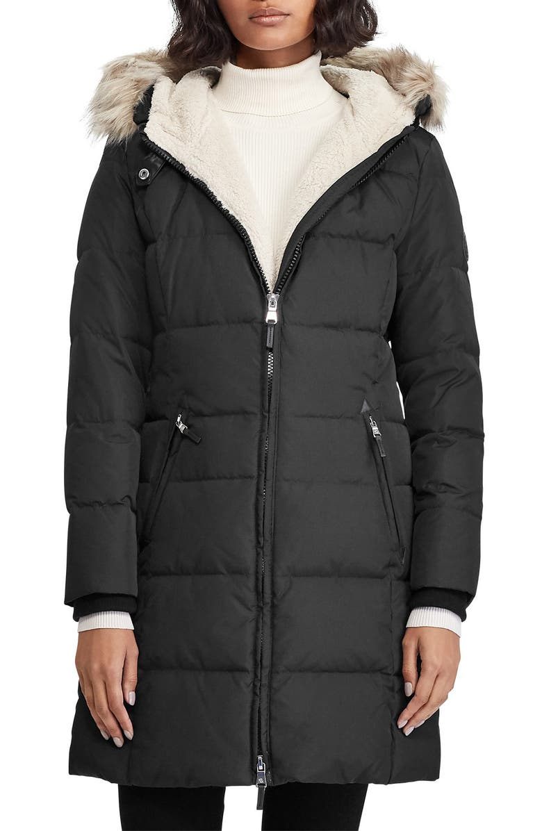 LAUREN RALPH LAUREN Quilted Parka, Main, color, BLACK