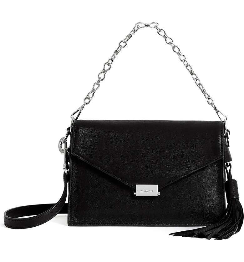 ALLSAINTS Miki Leather Shoulder Bag, Main, color, BLACK