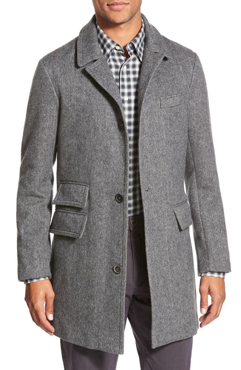 BILLY REID 'Astor' Three-ButtonHerringbone Overcoat, Main, color, 020