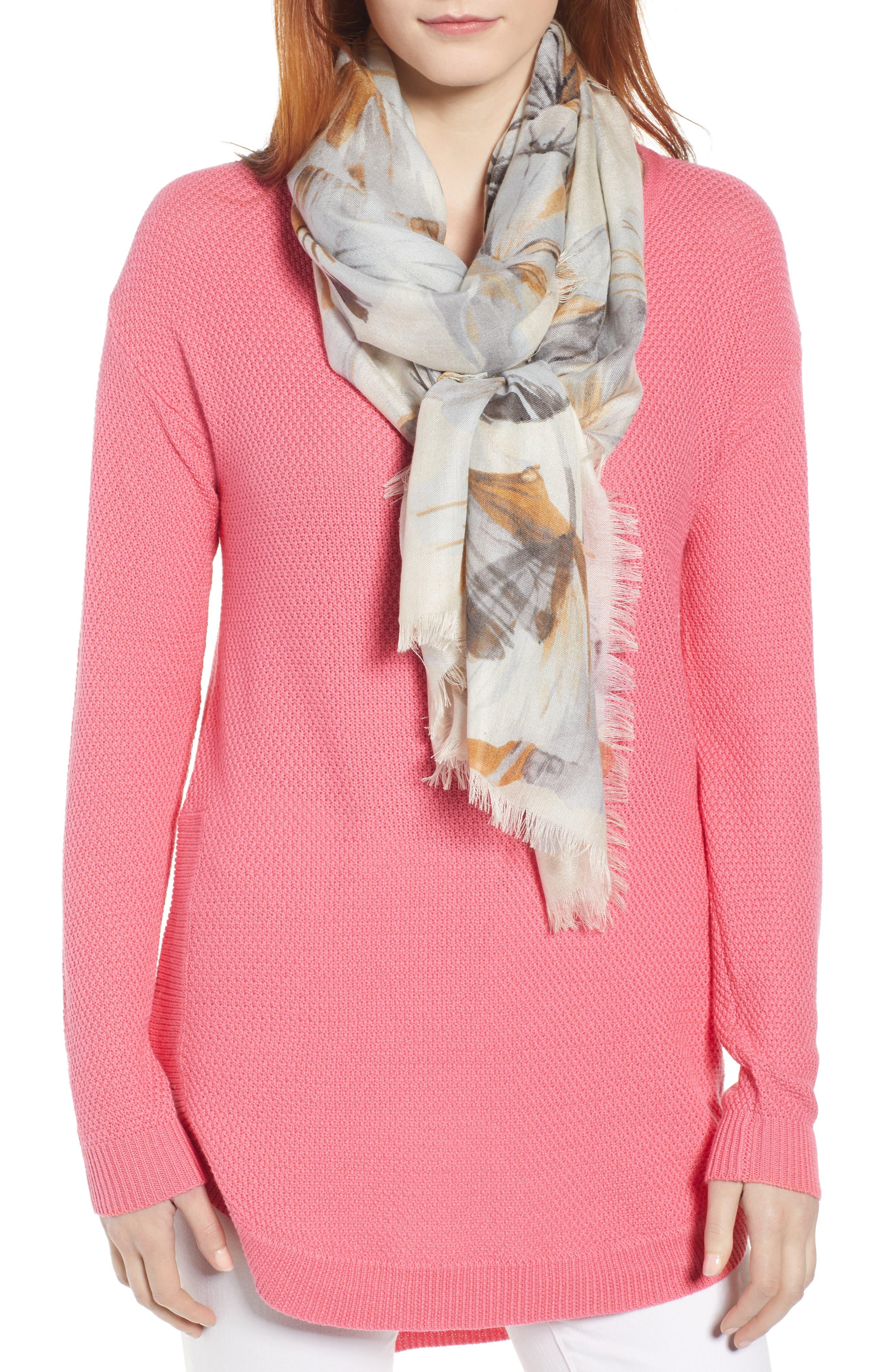 ,                             Eyelash Trim Print Cashmere & Silk Wrap,                             Main thumbnail 1, color,                             GREY GARDEN GIRL