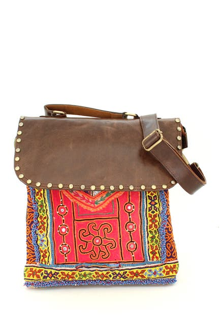 Image of Vintage Addiction Leather & Vintage Fabric Crossbody Bag