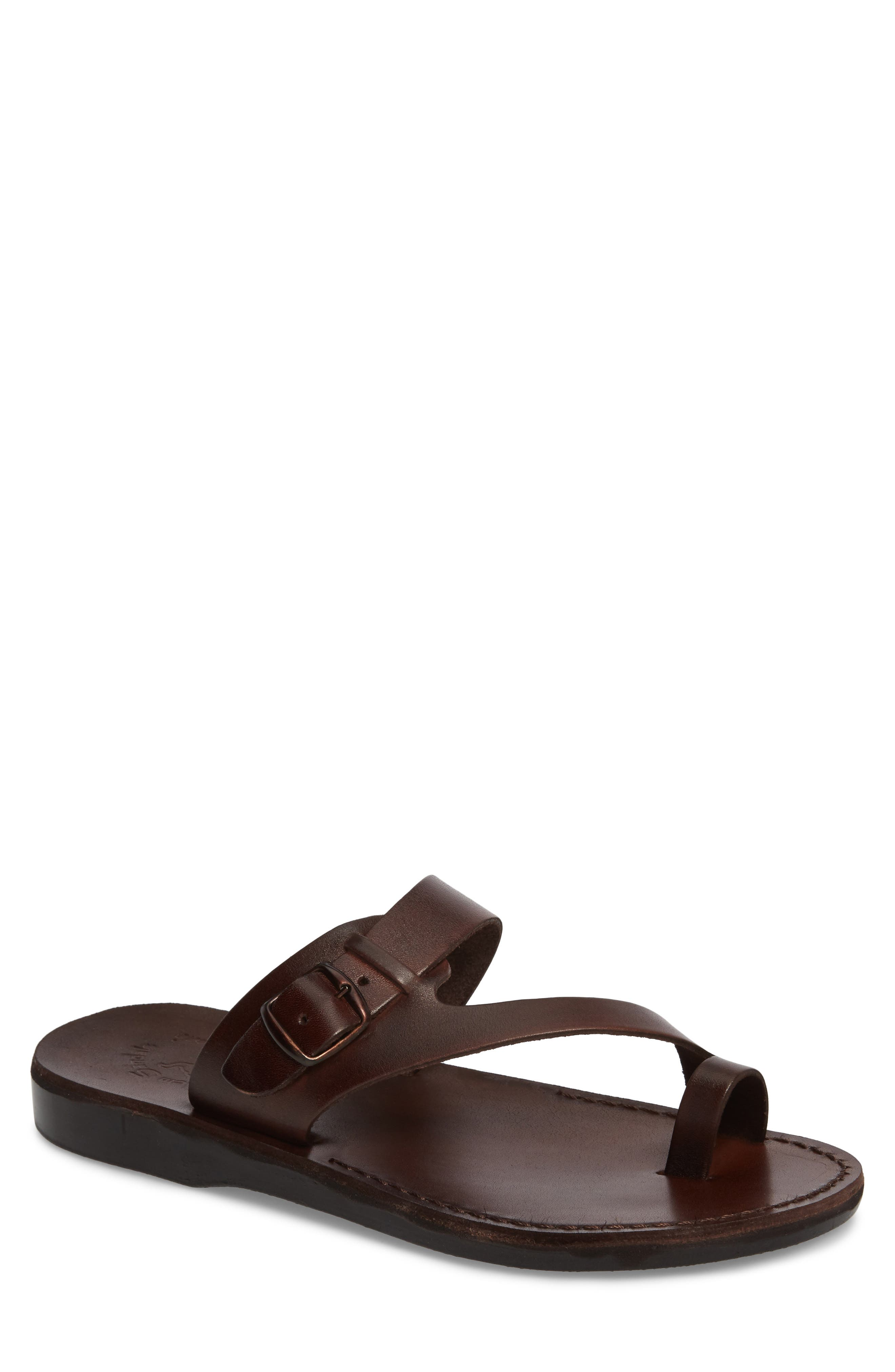 Abner Toe Loop Sandal, Main, color, BROWN LEATHER