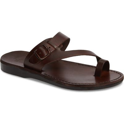 Jerusalem Sandals Abner Toe Loop Sandal,11.5US / 44EU - Brown
