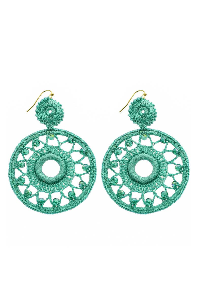 PANACEA Crochet Circle Drop Earrings, Main, color, 330