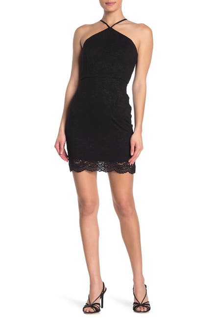 Image of JUMP Back Cutout Lace Mini Dress