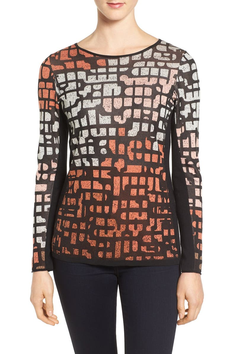 NIC+ZOE Pattern Play Knit Top, Main, color, 002
