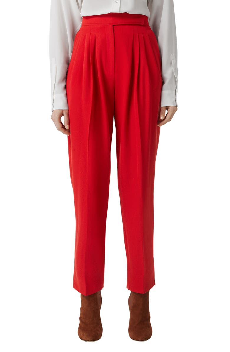BURBERRY Marleigh Pleated Wool Pants, Main, color, BRIGHT RED