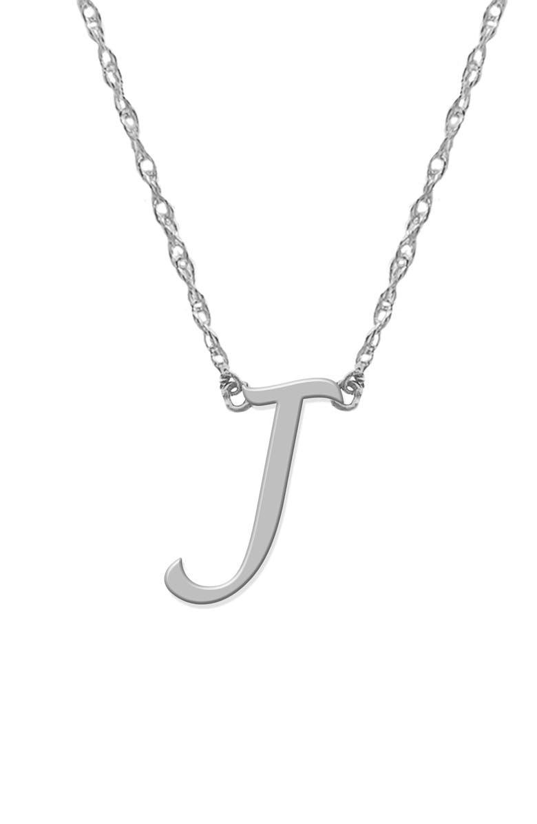 JANE BASCH DESIGNS Initial Pendant Necklace, Main, color, SILVER- J