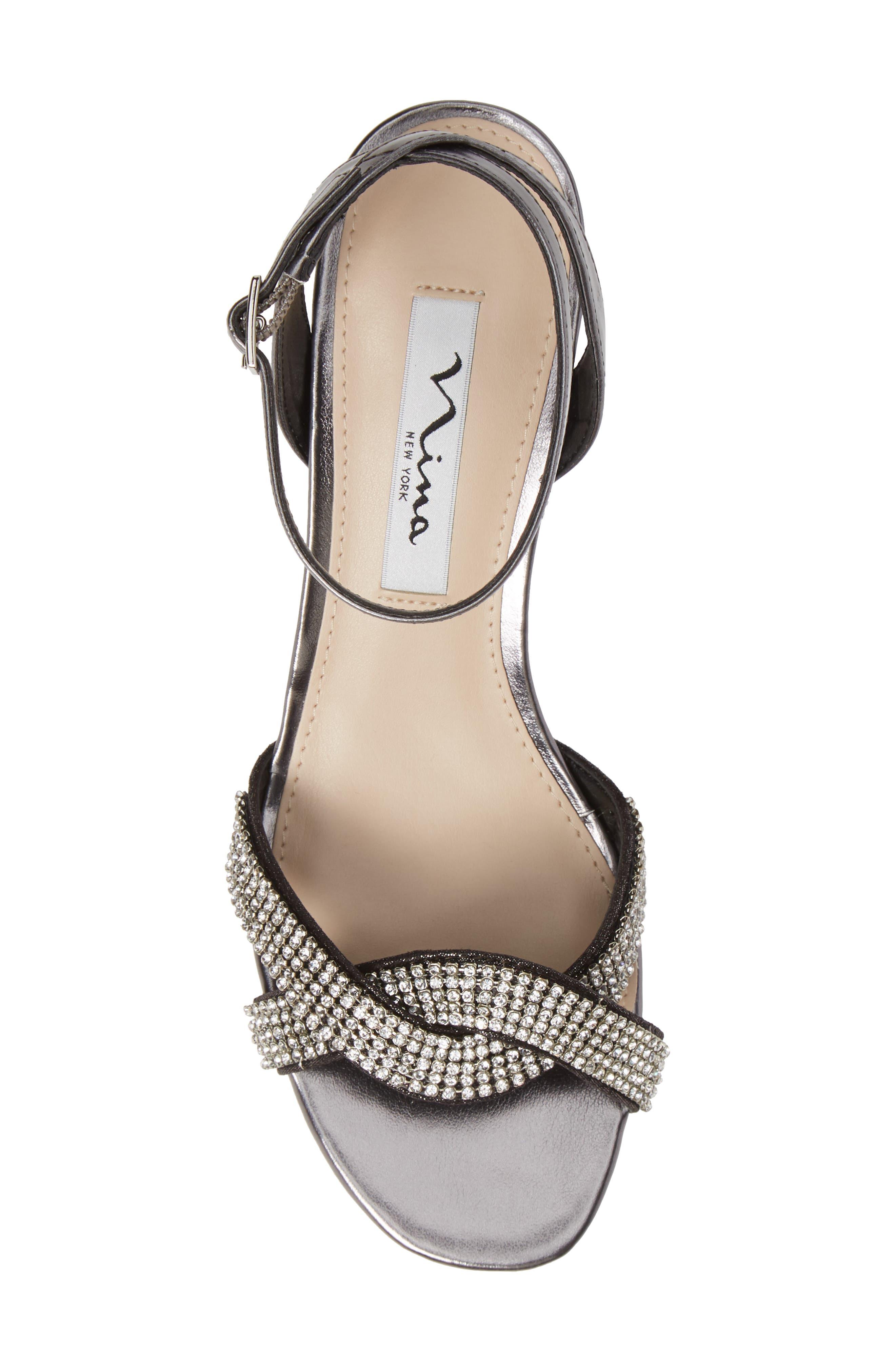 ,                             Florina Crystal Embellished Wedge Sandal,                             Alternate thumbnail 5, color,                             METALLIC GUNMETAL
