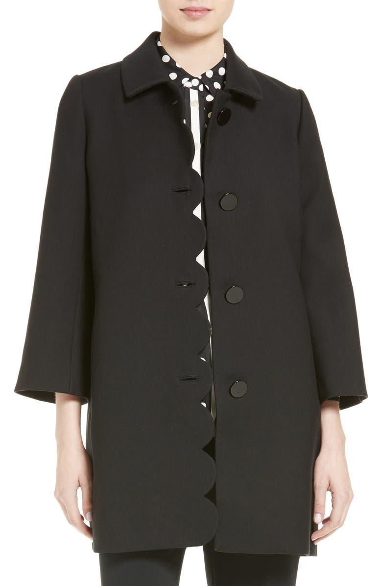 KATE SPADE NEW YORK scallop twill coat, Main, color, 001