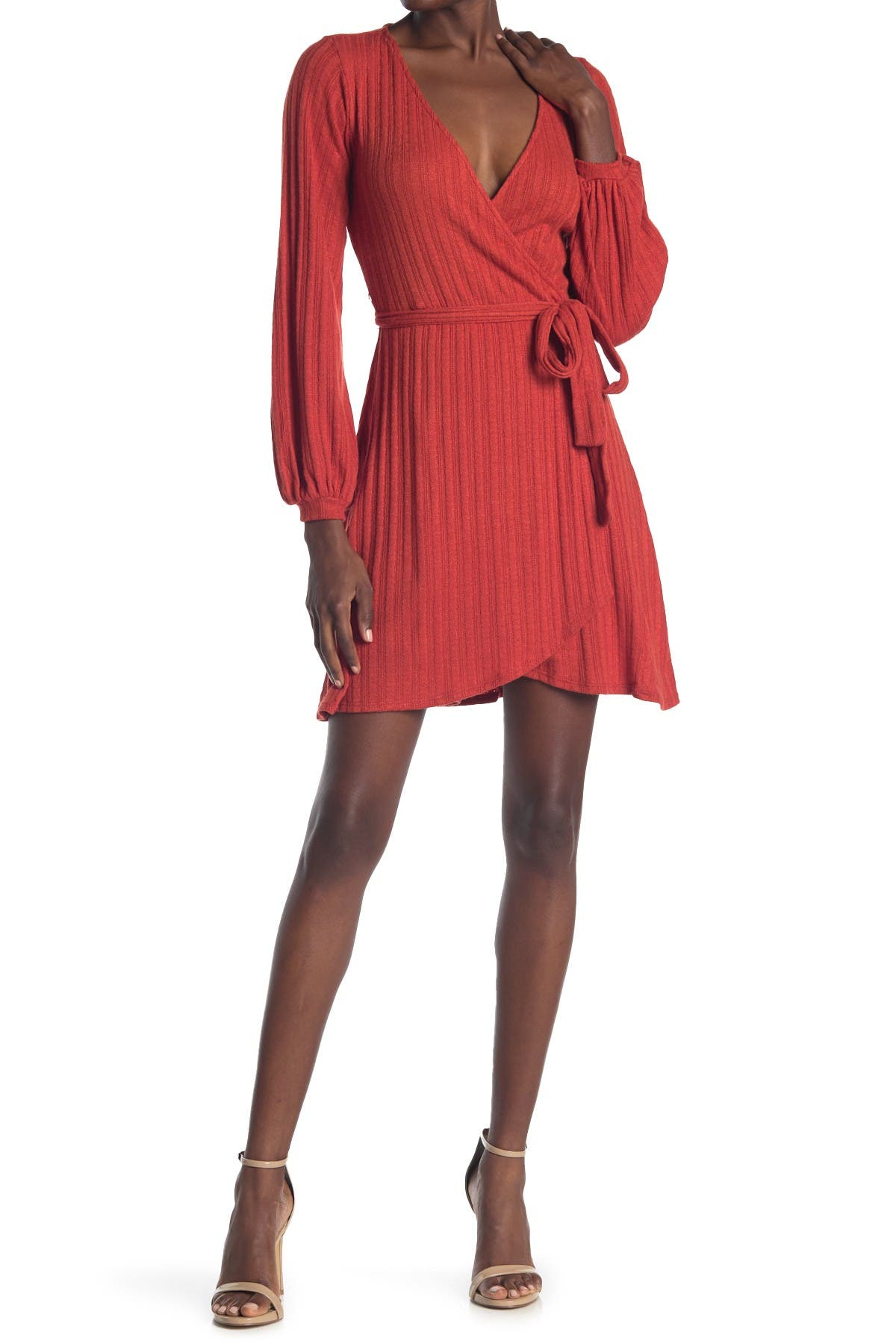 Image of KENEDIK Brushed Pointelle Surplice Neck Wrap Dress