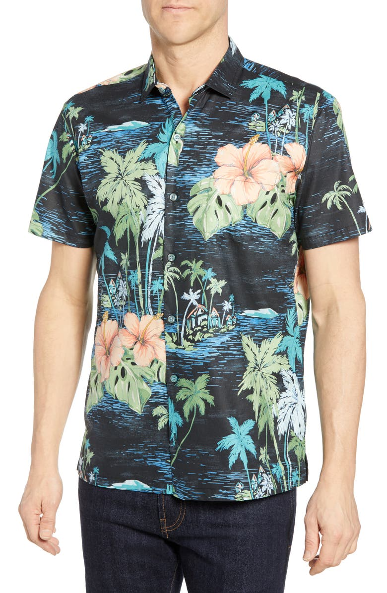 TORI RICHARD Exotica Regular Fit Print Shirt, Main, color, BLACK