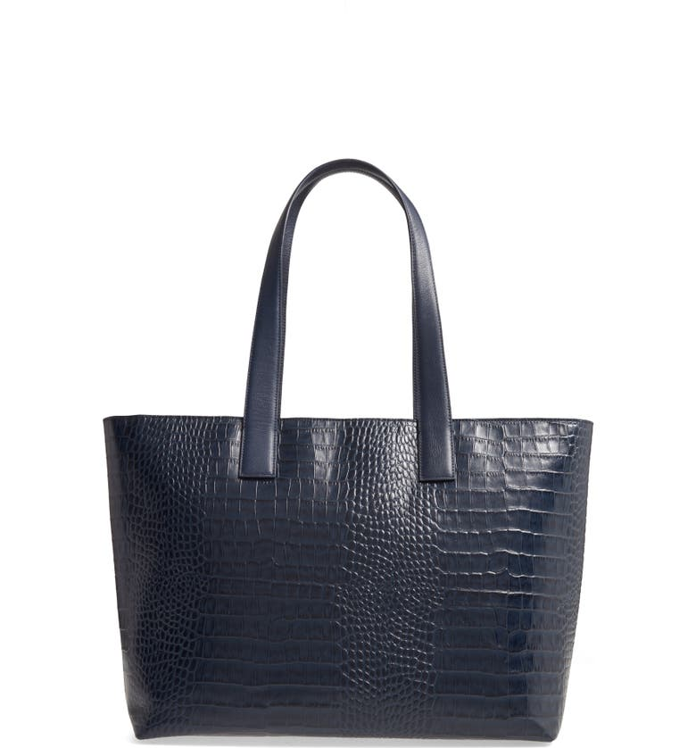 NORDSTROM Celia Croc Embossed Leather Tote, Main, color, NAVY PEACOAT