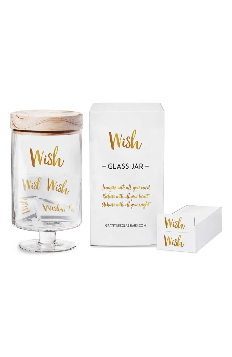 GRATITUDE GLASS JAR Wish Jar, Main, color, GOLD