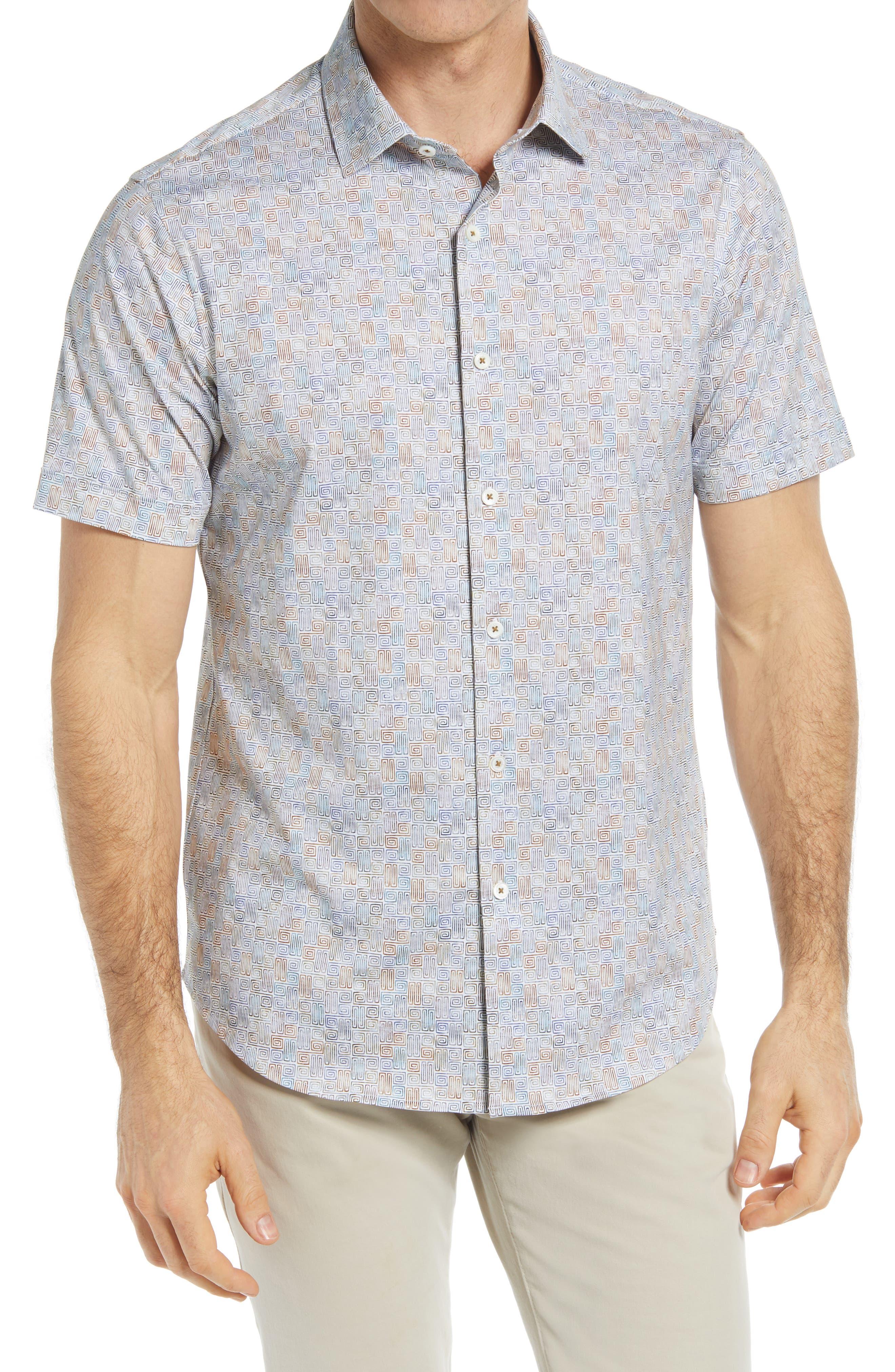 Ooohcotton Tech Greek Key Button-Up Shirt