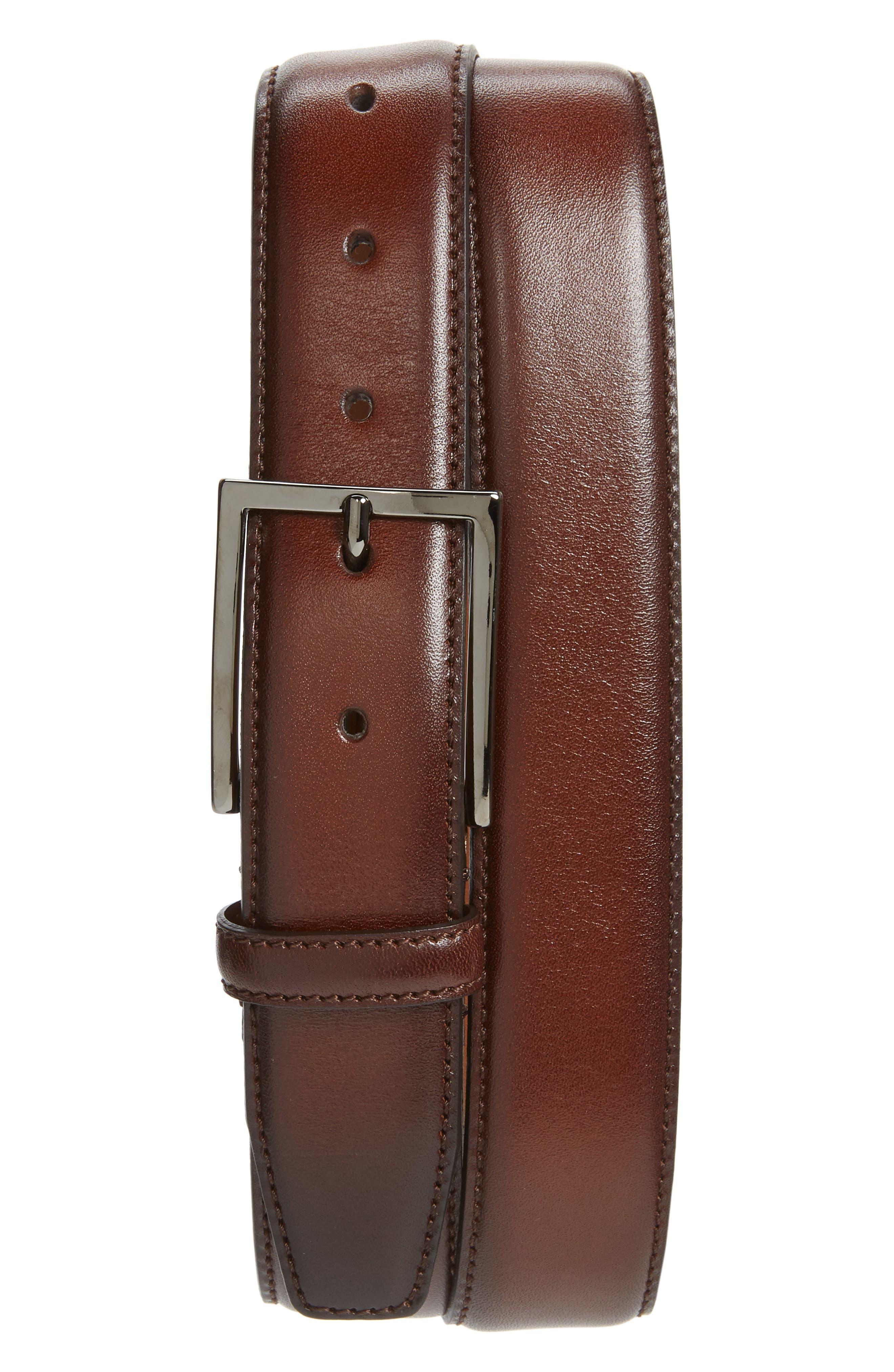 Nordstrom Shop Marco Burnished Leather Belt, Brown Chestnut