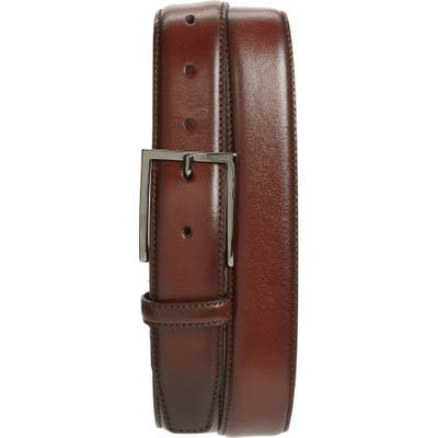 Nordstrom Shop Marco Burnished Leather Belt, Brown Chestnut
