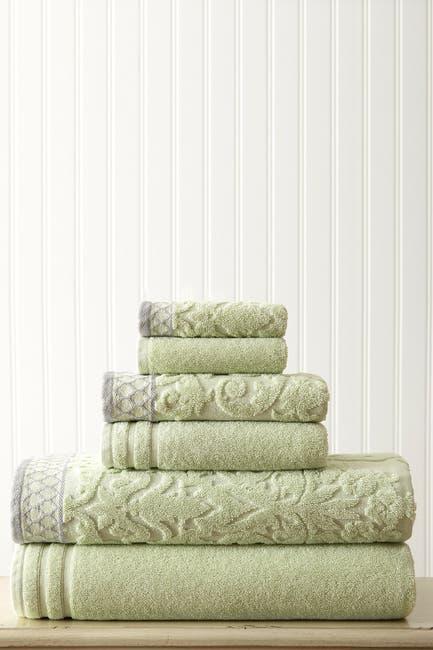 Image of Modern Threads Embellished Border Damask Jacquard Towel 6-Piece Set - Sage