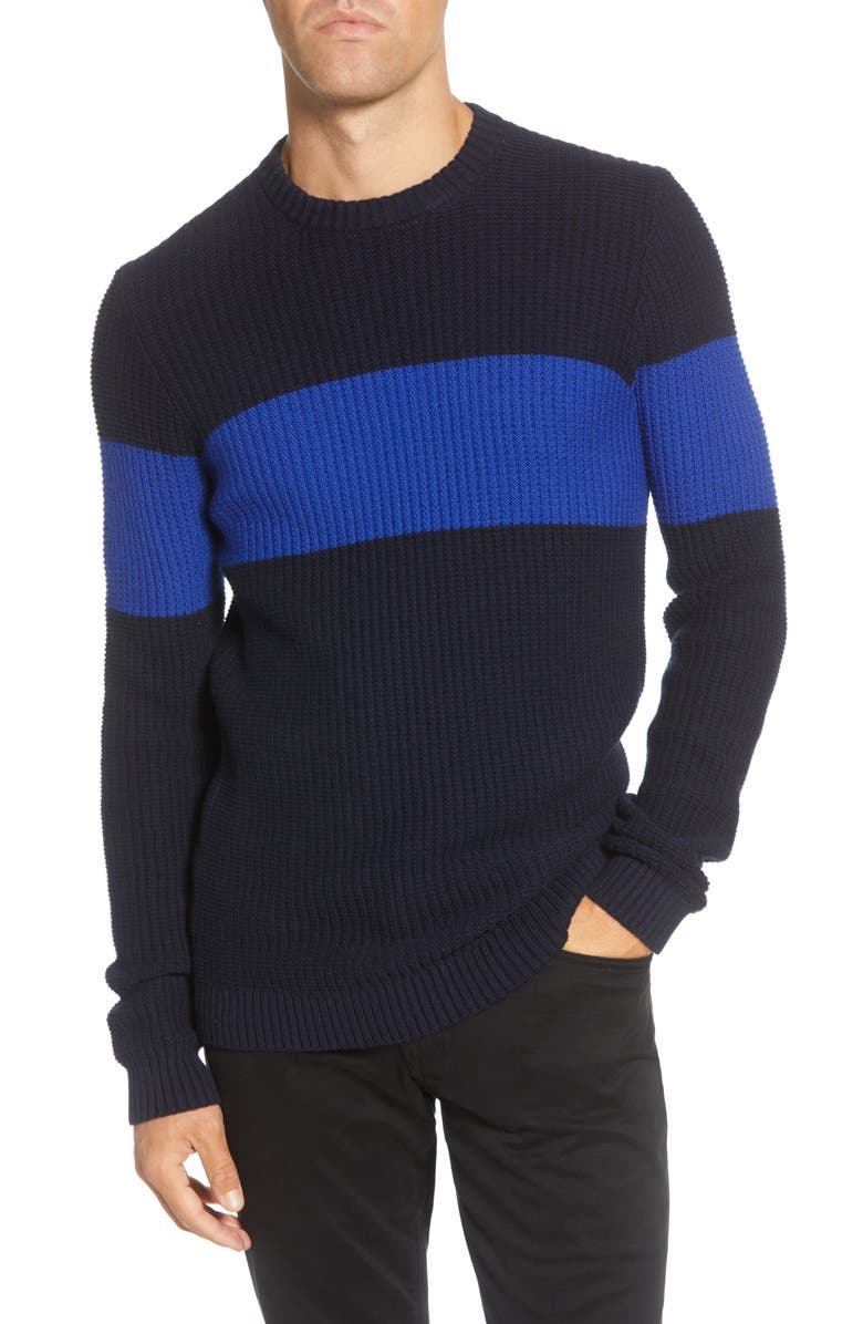 TED BAKER LONDON Stripe Sweater, Main, color, NAVY