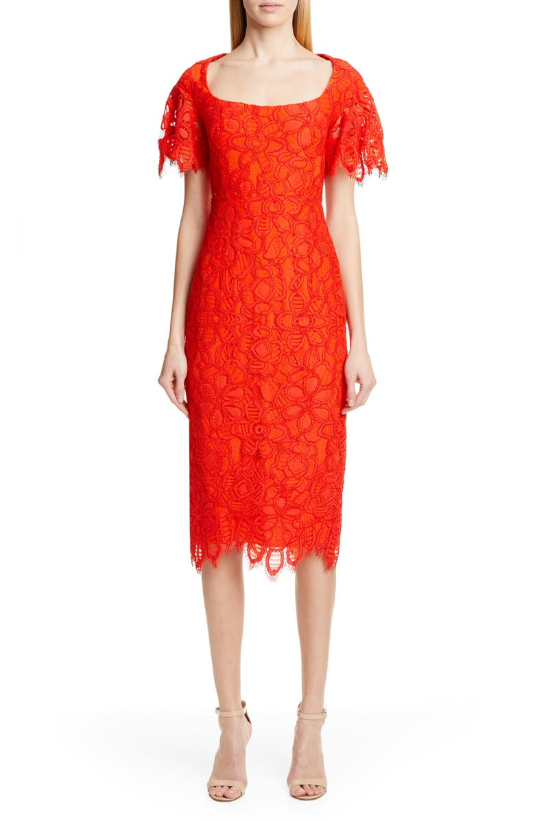 LELA ROSE Flutter Sleeve Eyelash Lace Midi Dress, Main, color, VERMILLION