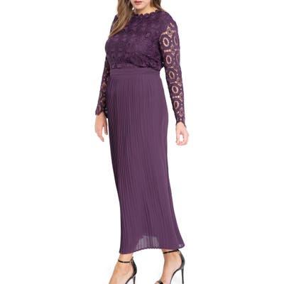 Plus Size Eloquii Lace Bodice Pleated Long Sleeve Evening Dress, Purple