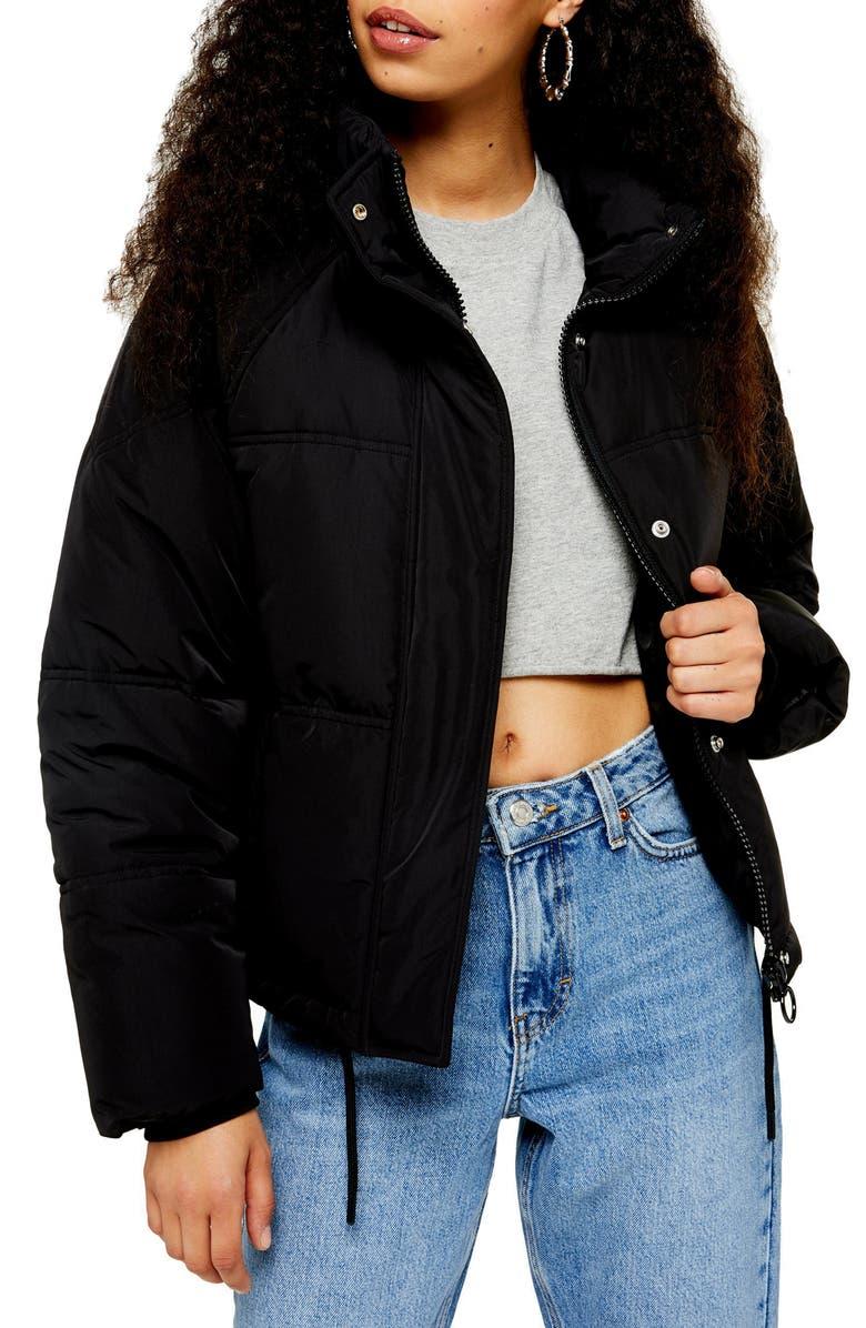 TOPSHOP Sasha Puffer Jacket, Main, color, BLACK