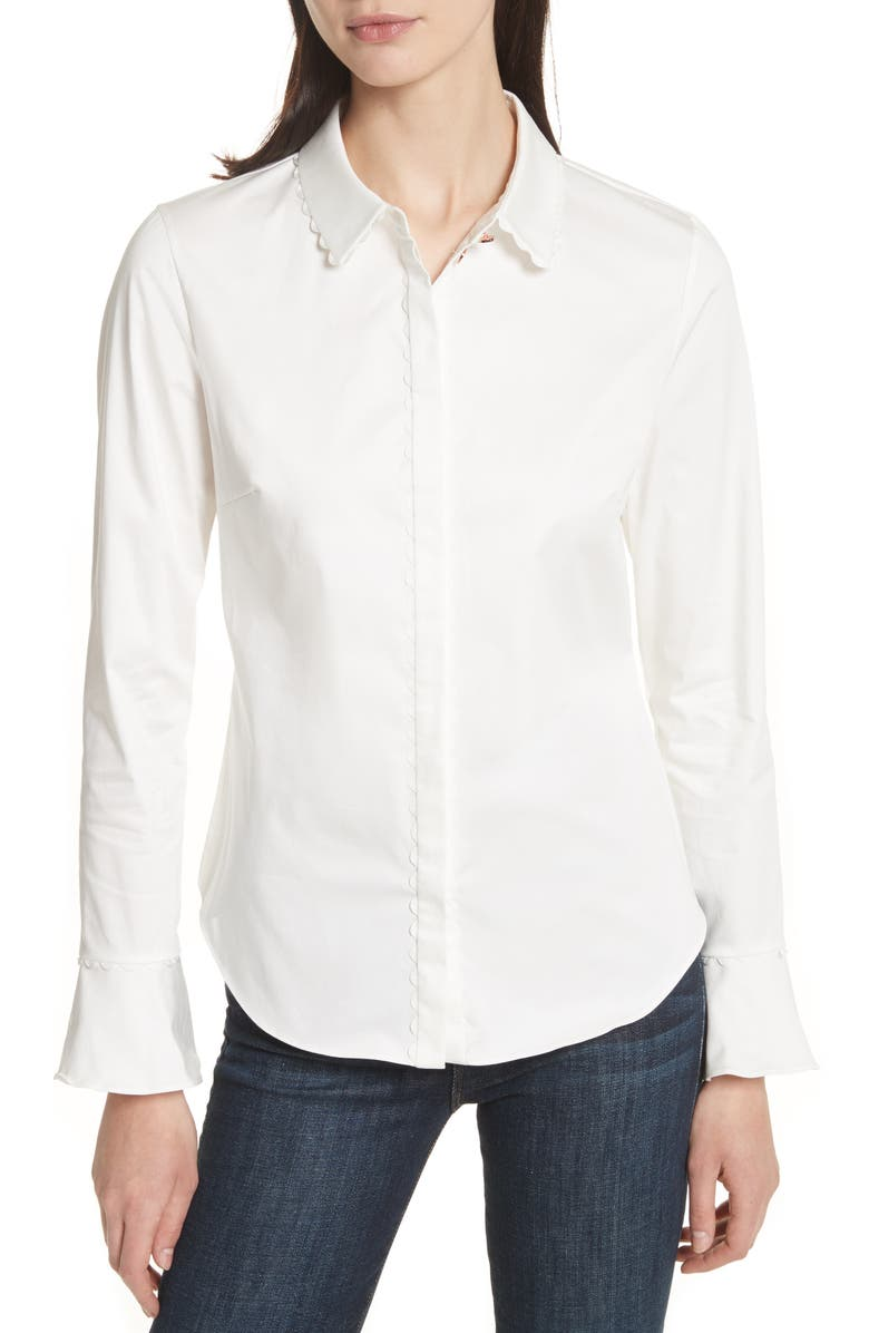 TED BAKER LONDON Fluted Scallop Trim Shirt, Main, color, 110