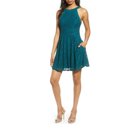 Speechless Lace Skater Dress, Green